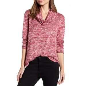 Caslon Red Heathered Cowl Neck Long Sleeves Top